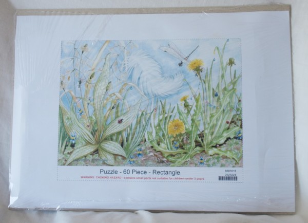 60 piece Jigsaw puzzle - feather and dragonfly